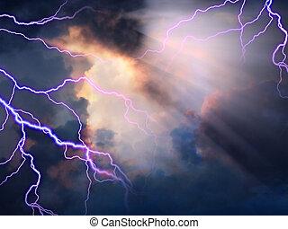 niebo, burzowy, światło słoneczne