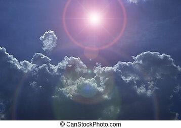 niebo, chmury, gwiazda, noc