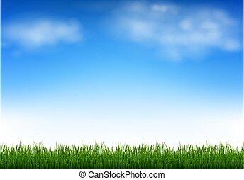 niebo, chmury, zieleń błękitna, trawa