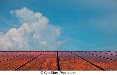 niebo, drewno, perspektywa, taras