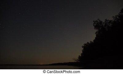 niebo, galaktyczny, noc, mleczny, galaxy., gwiaździsty, ...