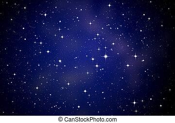 niebo, gwiazdy, noc