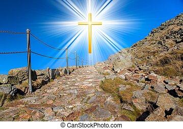 niebo, jarzący się, tło, krzyż, dramatyczny, natura