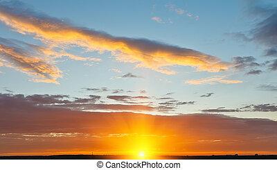 niebo, na, zachód słońca