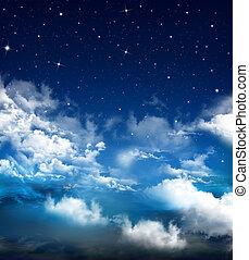 niebo, nightly, abstrakcyjny