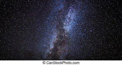 niebo, noc, droga, gwiazdy, mleczny, galaktyka