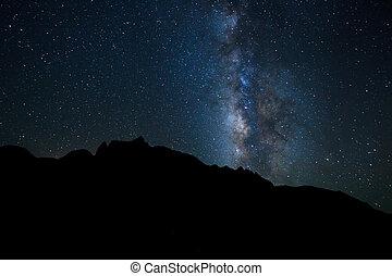 niebo, noc, jasny, droga, gwiazdy, mleczny, galaktyka