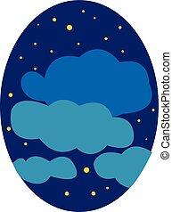 niebo, noce, chmury