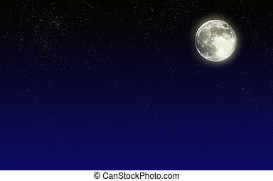 niebo nocy, księżyc