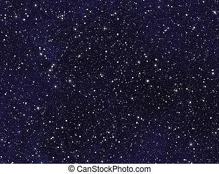 niebo nocy, pokryty, z, dużo, jasny, gwiazdy