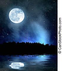 niebo nocy, z, gwiazdy, i, księżyc