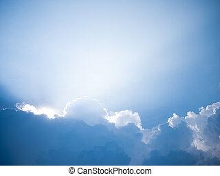 niebo, pochmurny, światło słoneczne, promień