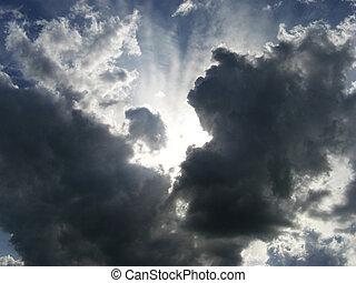 niebo, pochmurny, światło słoneczne