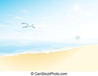 niebo, pochmurny, morze, motyw morski, seagull, powierzchnia