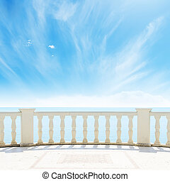 niebo, pochmurny, morze, pod, balkon, prospekt
