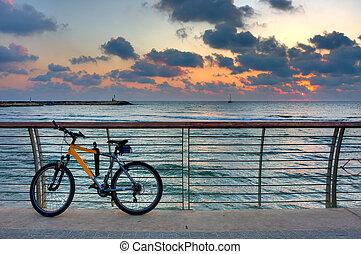 niebo, przeciw, deptak, rower, zachód słońca, sea., tło