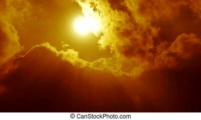niebo, słońce, chmury, wysoki, sunny., osłona