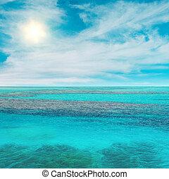 niebo, słońce, i, ocean