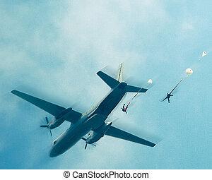 niebo, spadochroniarze