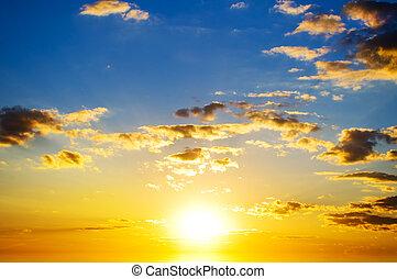 niebo, tło, na, sunrise.