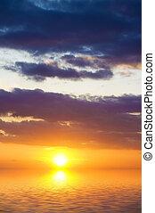 niebo, tło, na, sunset.