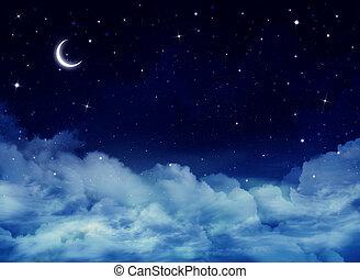 niebo, tło, noc