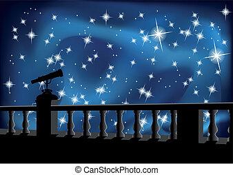 niebo, teleskop, noc