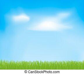 niebo, wiosna, abstrakcyjny, chmury, grass., wektor, zielone tło, projektować, twój, szablon