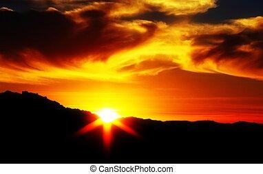 niebo, zachód słońca, pochmurny