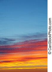 niebo, zachód słońca, tło