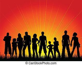 niebo zachodu słońca, przeciw, tłum, ludzie