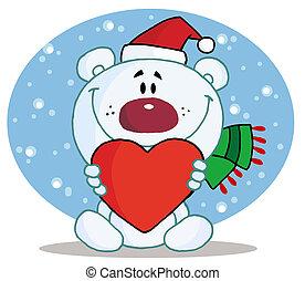 niedźwiedź, dzierżawa, polarny, serce