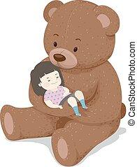 niedźwiedź, kołyska, sen, ilustracja, dziewczyna, berbeć