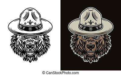 niedźwiedź, obiekty, wektor, wywiadowca, kapelusz, dwa, głowa, style
