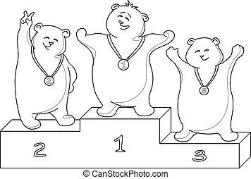 niedźwiedź, teddy, kontury, sportsmans