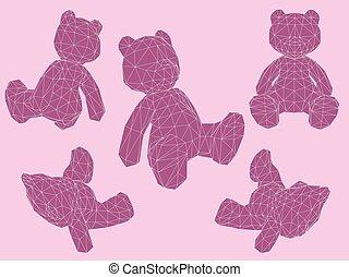 niedźwiedź, w, różny, pozycje