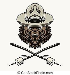 niedźwiedź, wtyka, wektor, marshmallow, kapelusz, wywiadowca