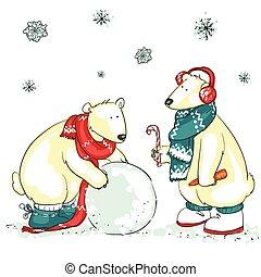 niedźwiedź, zabawny, polarny