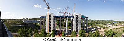 niederfinow, site construction, panorama