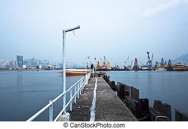 niederländisch, city., landungsbrücke, meer, verlassen, neblig