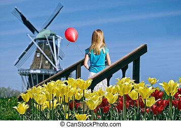niederländisch, m�dchen, mit, roter ballon