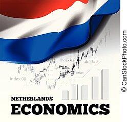 niederlande, volkswirtschaft, vektor, abbildung, mit, netherlands, fahne, und, geschaeftswelt, tabelle, balkendiagramm, bestand, zahlen, hausse, uptrend, linie diagramm, symbolisiert, der, wachstum