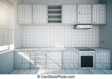 niedokończony, biały, kuchnia, projektować