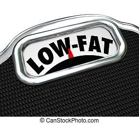 niedrig-fett, wörter, skala, ernährungsmäßig, essenswahl, knabberzeug