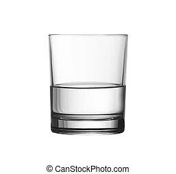 niedrig, halb voll, glas wasser, freigestellt, weiß, mit,...