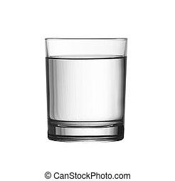 niedrig, voll, von, wasserglas, freigestellt, weiß, mit,...