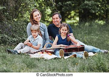 niedziela, piknik, dwa, rodzina, dzieci