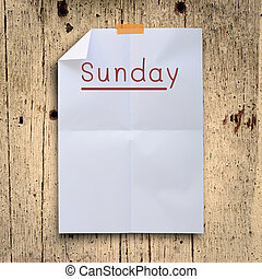 niedziela, planowanie, na białym, zaginać, papier, z,...