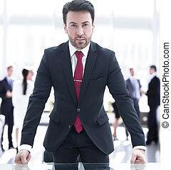 nieformalny, wzdryga się, spotkanie, właściciel, handlowy