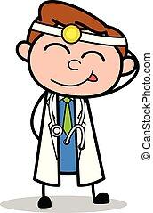 niegrzeczny, doktor, -, ilustracja, wektor, profesjonalny, rysunek